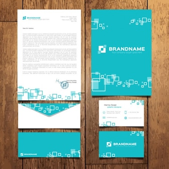 Turquoise business stationery with squares