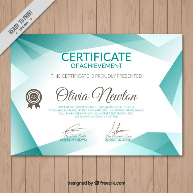Turquoise certificate