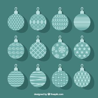 Turquoise christmas balls collection