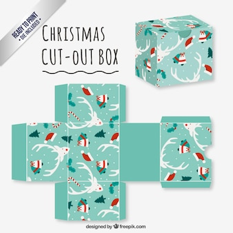 Turquoise christmas cut out box