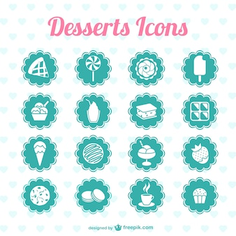 Turquoise desserts icons