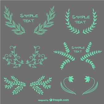 Turquoise laurel wreaths