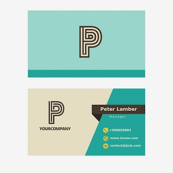 Turquoise retro business card with P letter