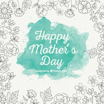Turquoise watercolor mother's day background