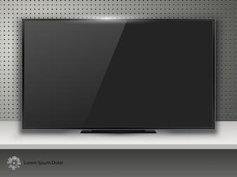 Tv screen on desk