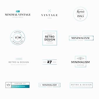 Twelve minimal vintage and retro vector logos for shops