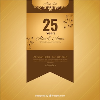 Twenty fifth anniversary golden ribbon