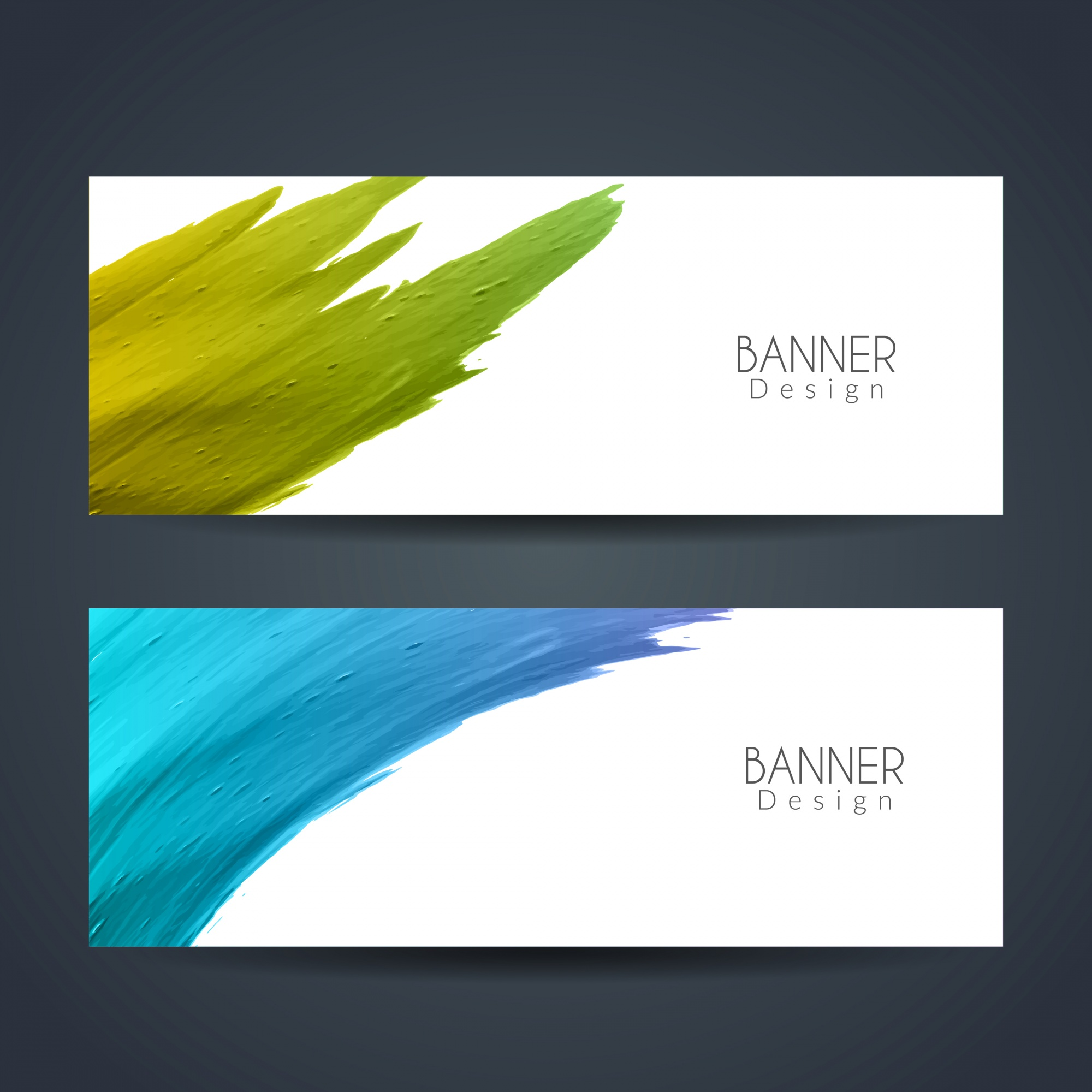 Two abstract banners with watercolor stains