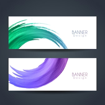 Two abstract banners with watercolors