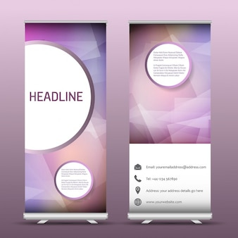 Two advertising roll up banners with an abstract design