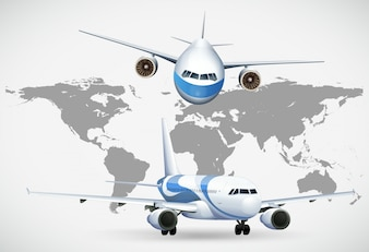 Two angles of airplanes on world map
