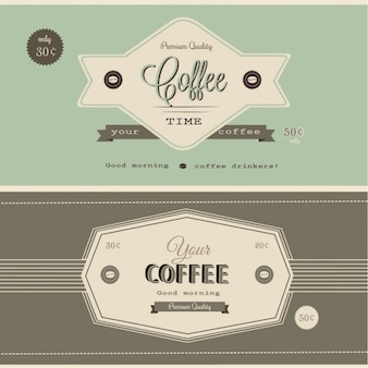 Two authentic retro coffee banners