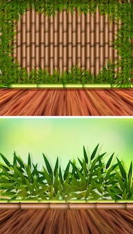 Two background templates with bamboo woods