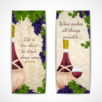 Two banners about wine