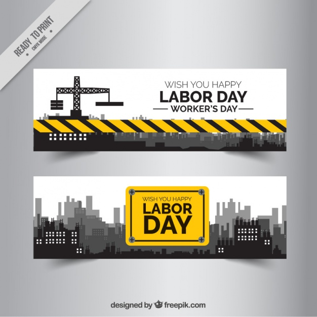 Two banners of labor day construction