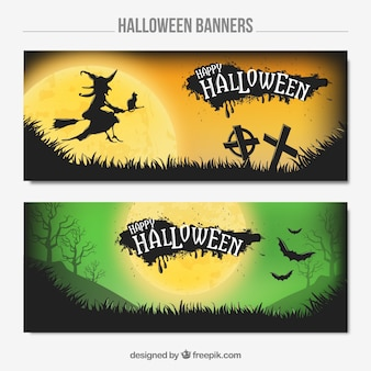 Two banners with a witch and bats for halloween