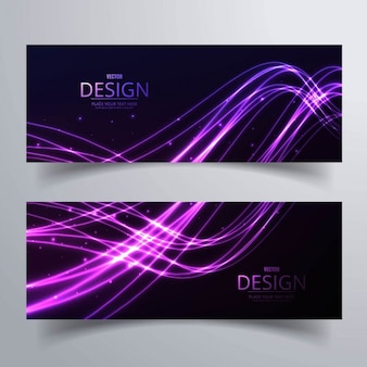 Two banners with bright wavy shapes