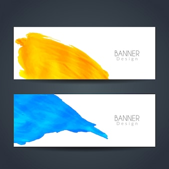 Two banners with watercolors