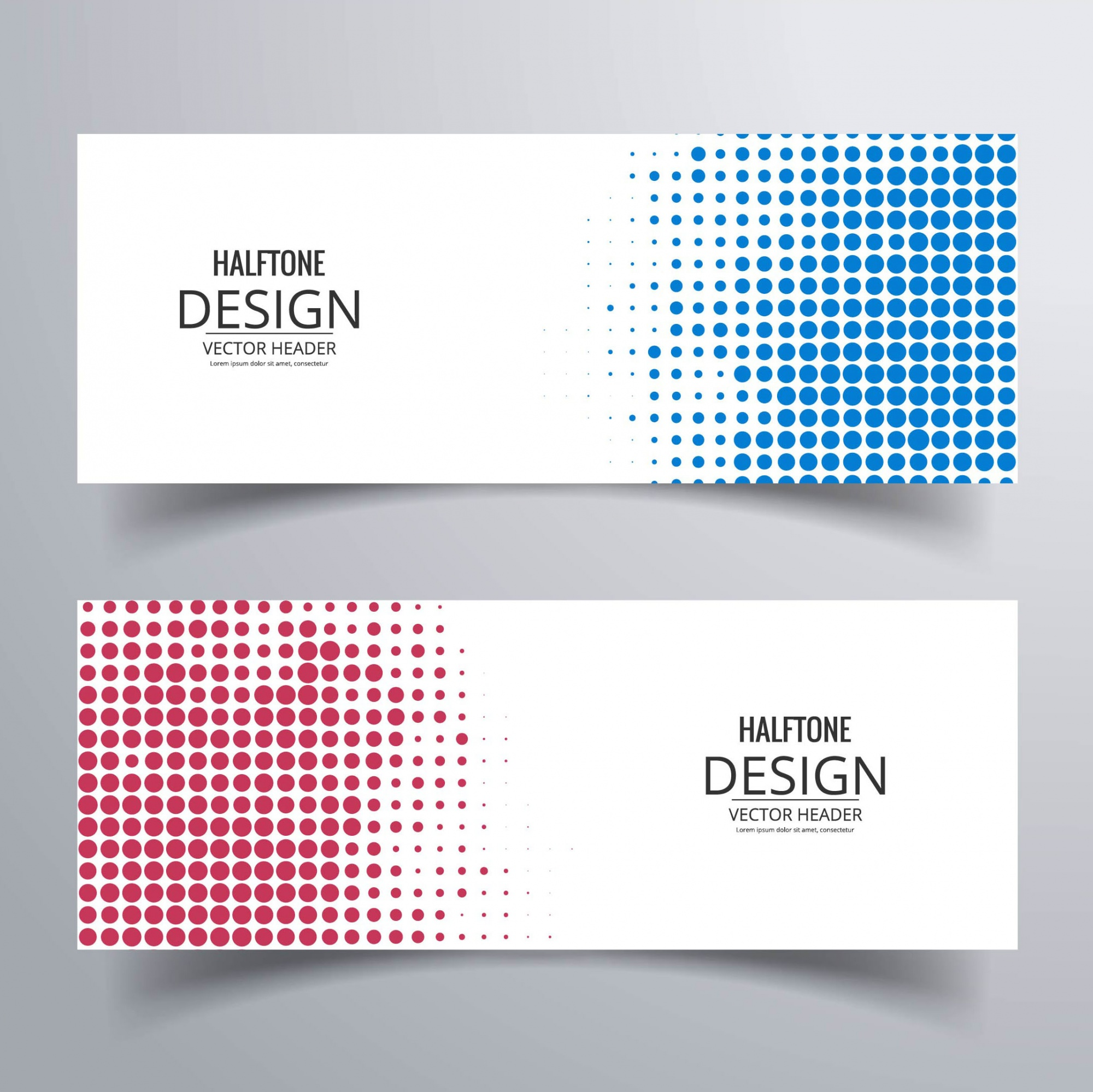 Two blue and red banners with halftone dots