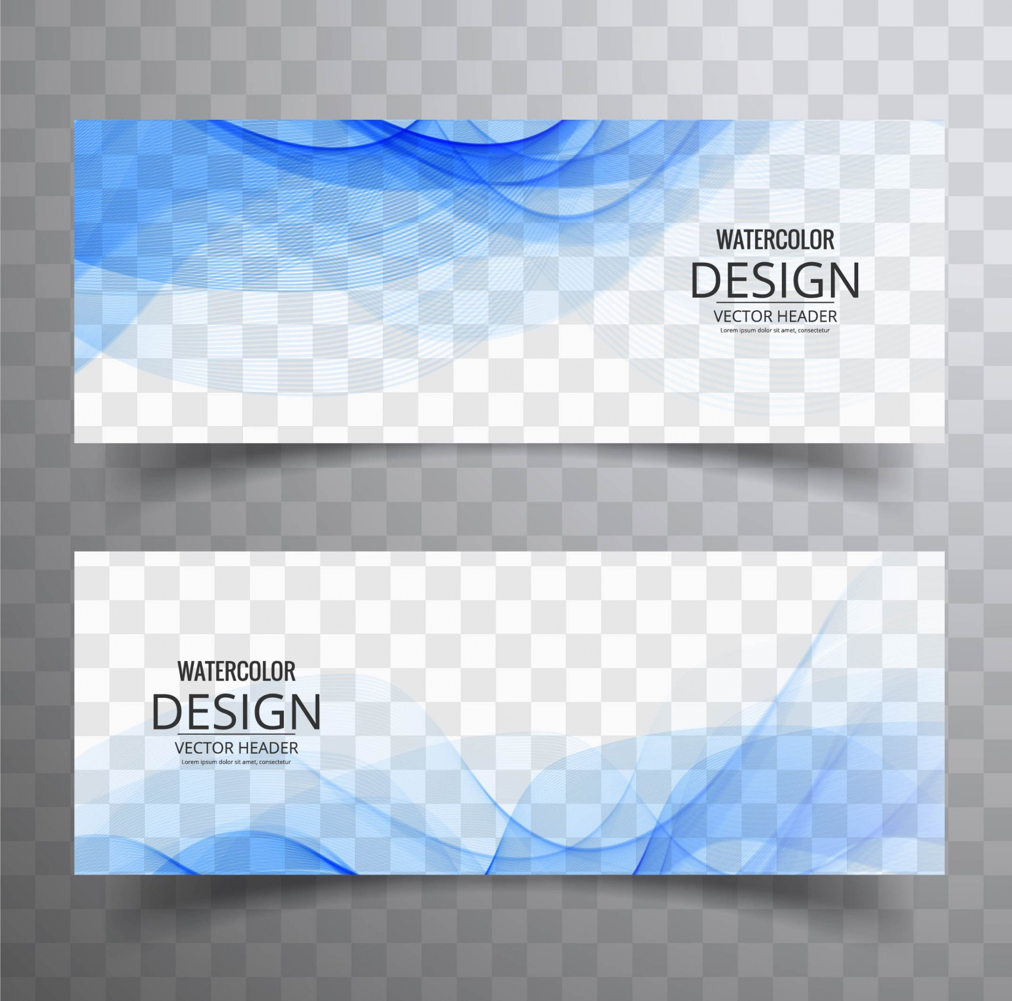 Two blue banners with wavy shapes
