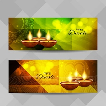 Two bright banners for diwali