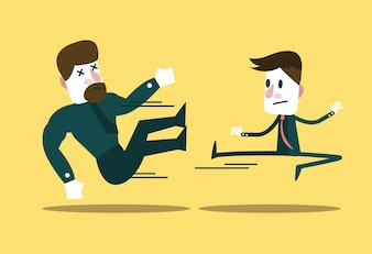 Two business people fighting
