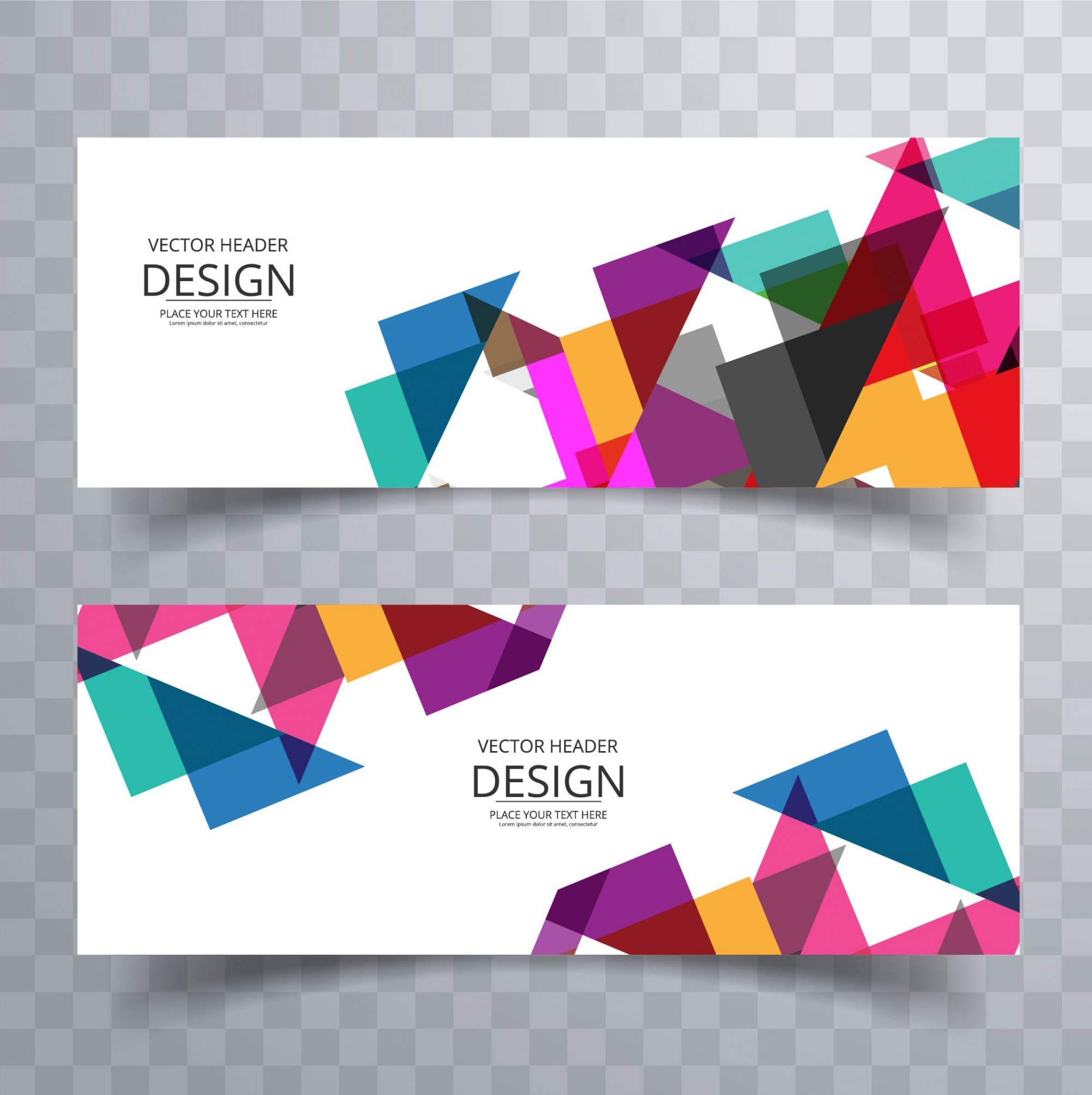 Two colorful banners with geometric shapes