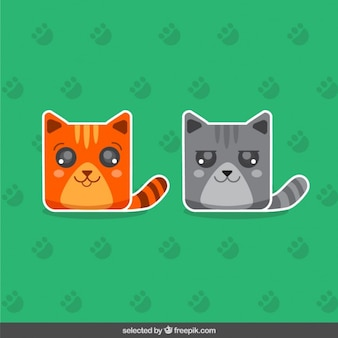 Two cute cats stickers