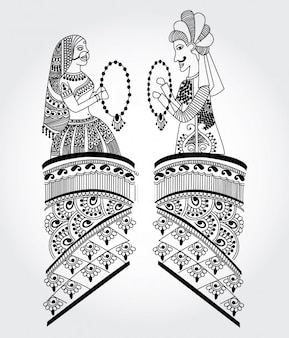 Two Decorative Indian Women