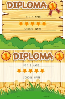 Two diploma templates with wooden board background