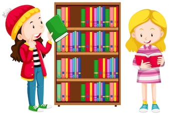 Two girls in the library illustration