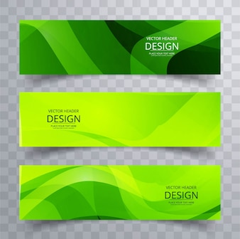 Two green banners with wavy shapes