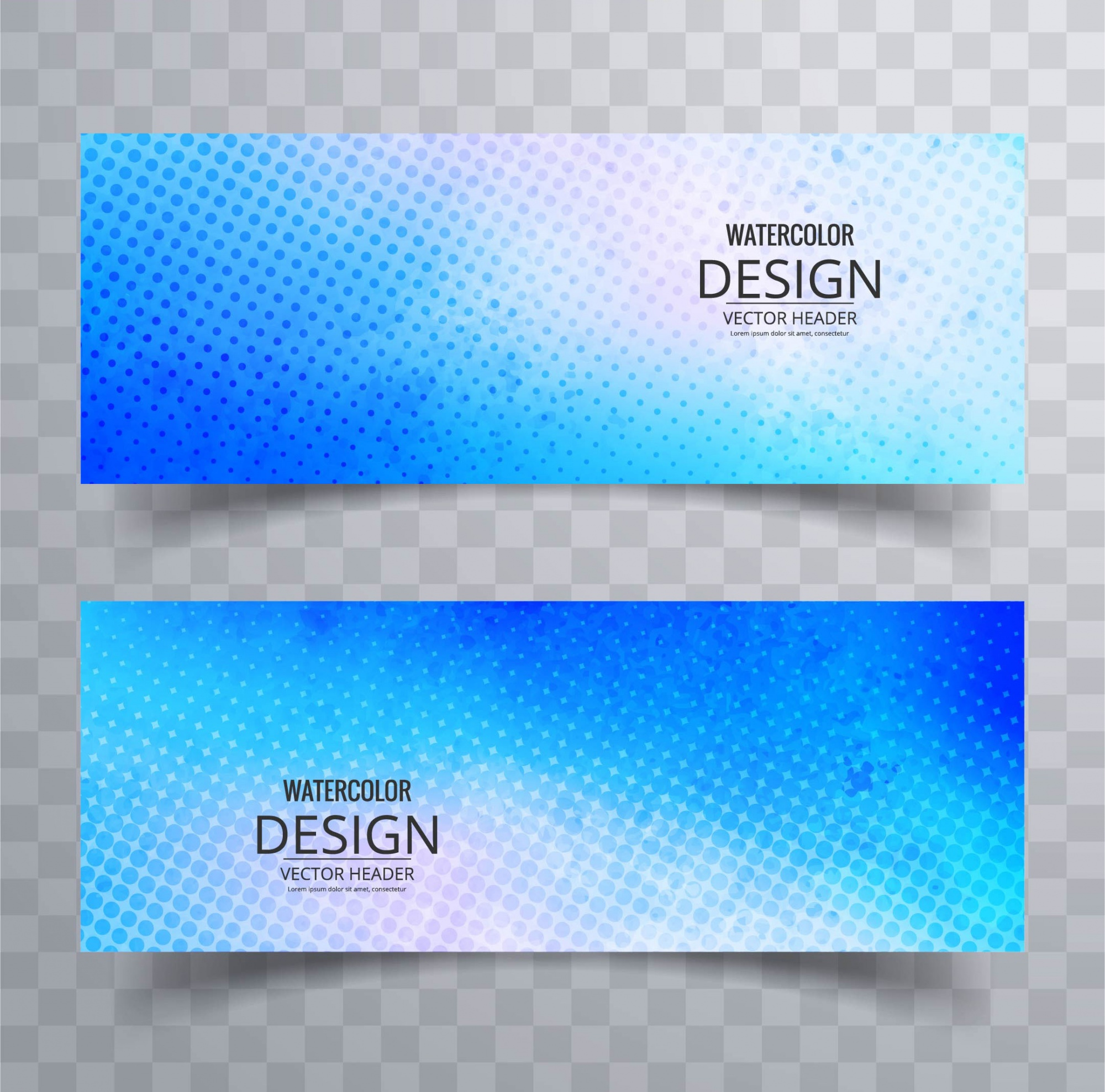 Two grunge banners with halftone dots