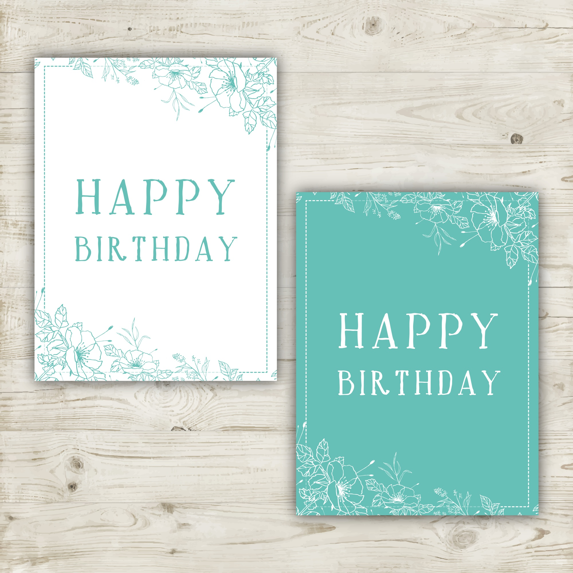 Two hand drawn floral birthday cards