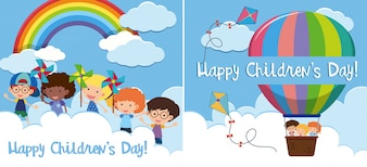 Two happy children's day card with kids in balloon