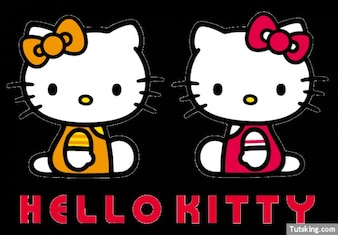 Two Hello Kitty with hair bows