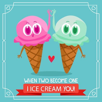 Two ice cream background with love quote