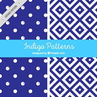 Two indigo patterns
