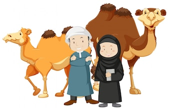 Two islam people and camels