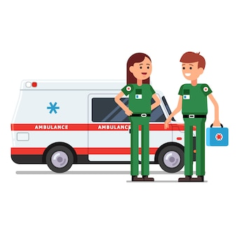 Two paramedics workers in front of ambulance car