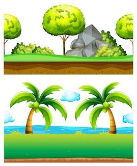 Two scenes of green garden