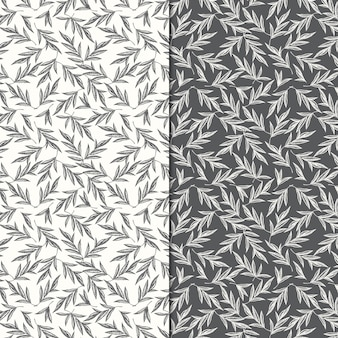 Two seamless patterns with hand drawn leaves