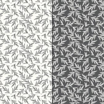 手描きの葉と2つのシームレスなパターン