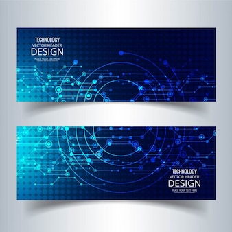Two technological banners, blue color
