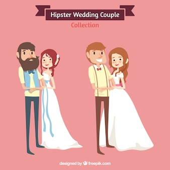 Two wedding couples, hipster style