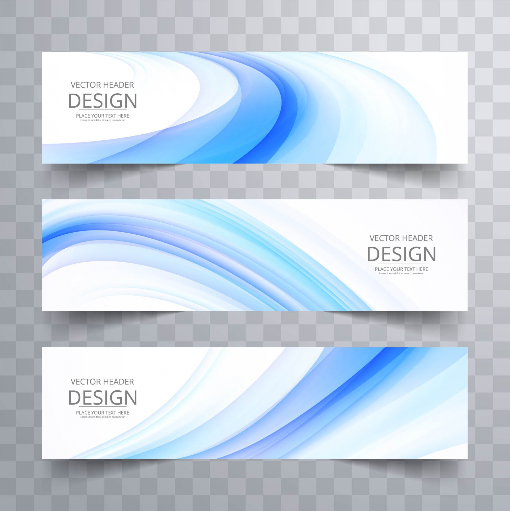Two white banners with blue dynamic shapes
