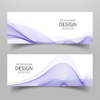 Two white banners with purple wavy shapes