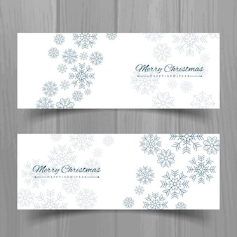 Two white christmas banners