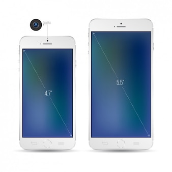 Two White Smartphones Mockup