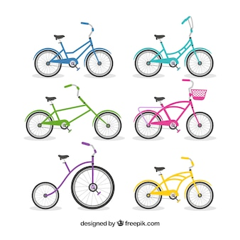 Types of bicycles in flat design